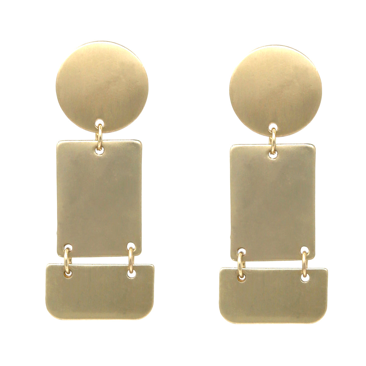 Metal Disc And Plate Drop Earrings
