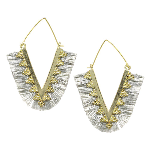 Thread Fringe Rhombus Hoop Earrings