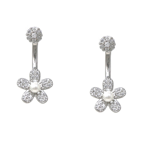 925 Sterling Silver Cubic Zirconia Pave Flower Ear Jacket Earrings