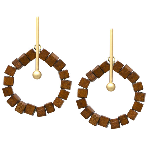 Small Wood Cube Linked Circle With Metal Bar Earrings