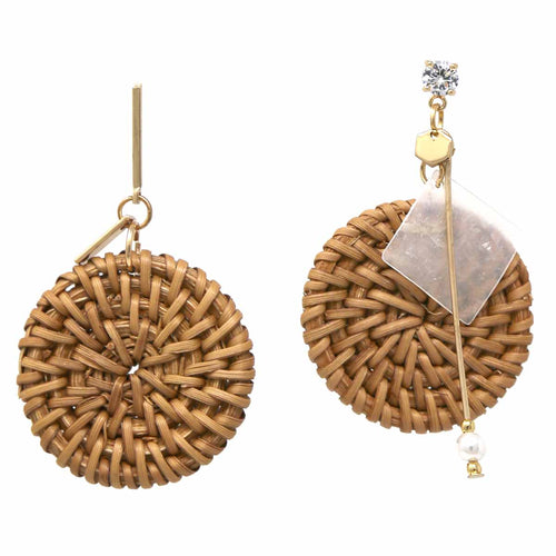 Basket Weave Straw Disc Drop Earrings with Charms