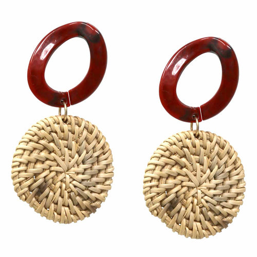 Basket Weave Straw Disc Drop Earrings