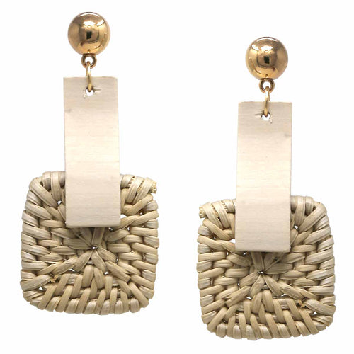 Basket Weave Straw Square and Rectangle Wood Drop Earrings