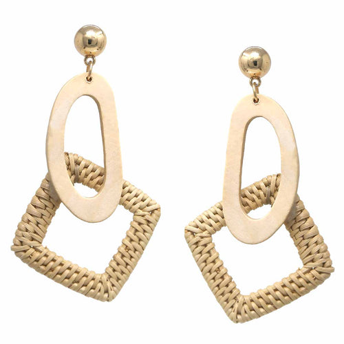 Basket Weave Straw Square with Oval Wood Drop Earrings