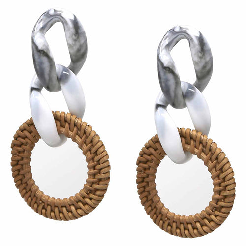Basket Weave Straw Circle Linked with Linked Oval Acetate Drop Earrings
