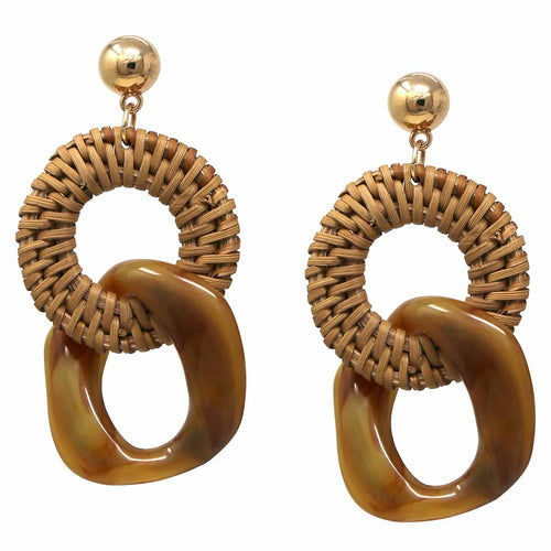 Basket Weave Straw Circle Linked With Chunky Acetate Drop Earrings