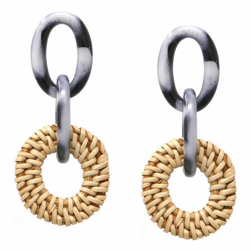Linked Acetate Ovals and Basket Weave Straw Drop Earrings