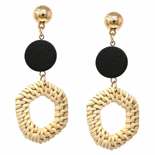 Basket Weave Straw Hexagon and Wood Circle Drop Earrings