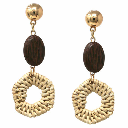 Basket Weave Straw Hexagon and Oval Wood Drop Earrings