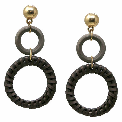 Straw Circle and Wood Circle Drop Earrings