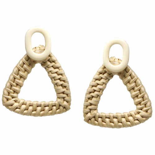 Straw Weave Triangle Earrings