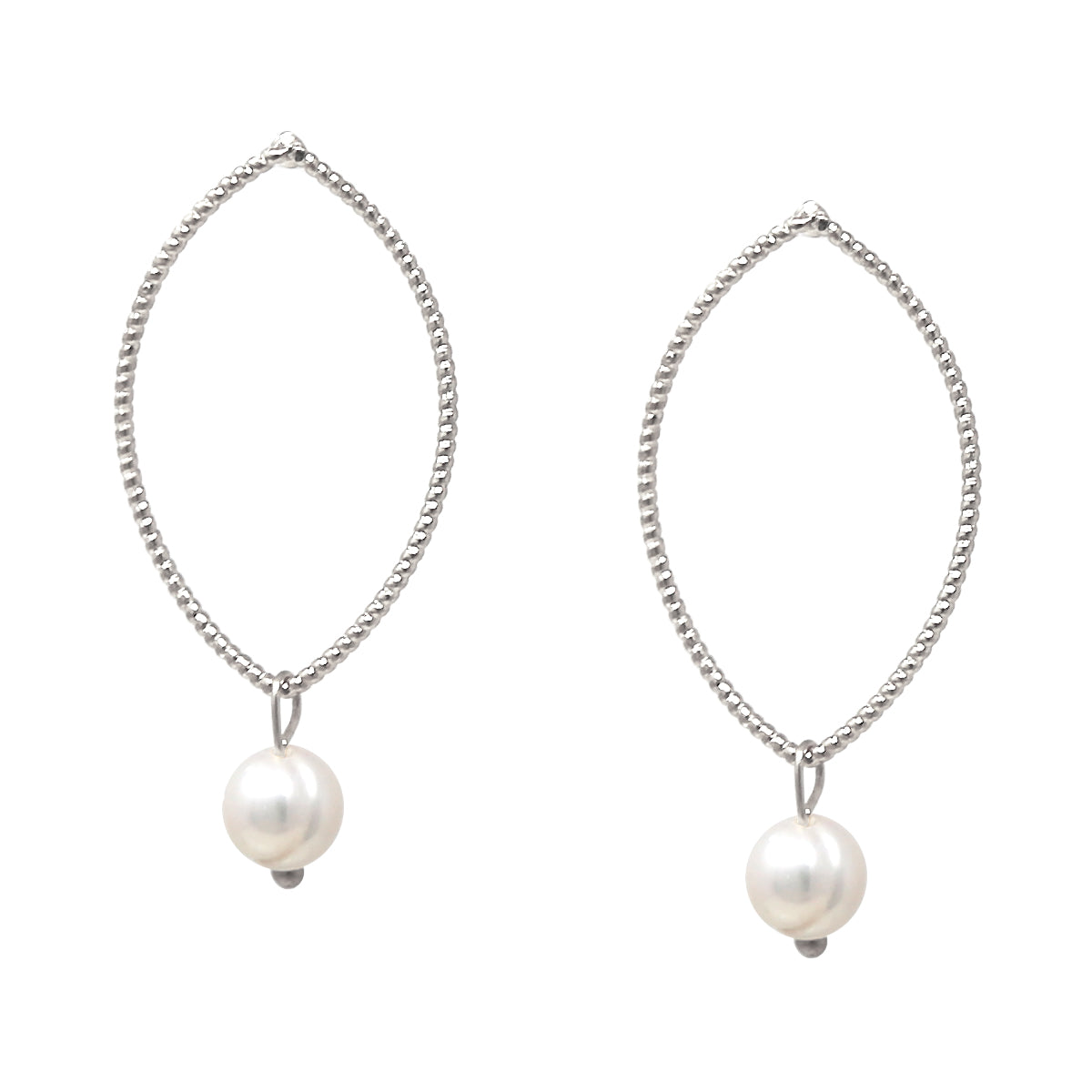 Skinny Marquise Hoop Pearl Drop Earrings