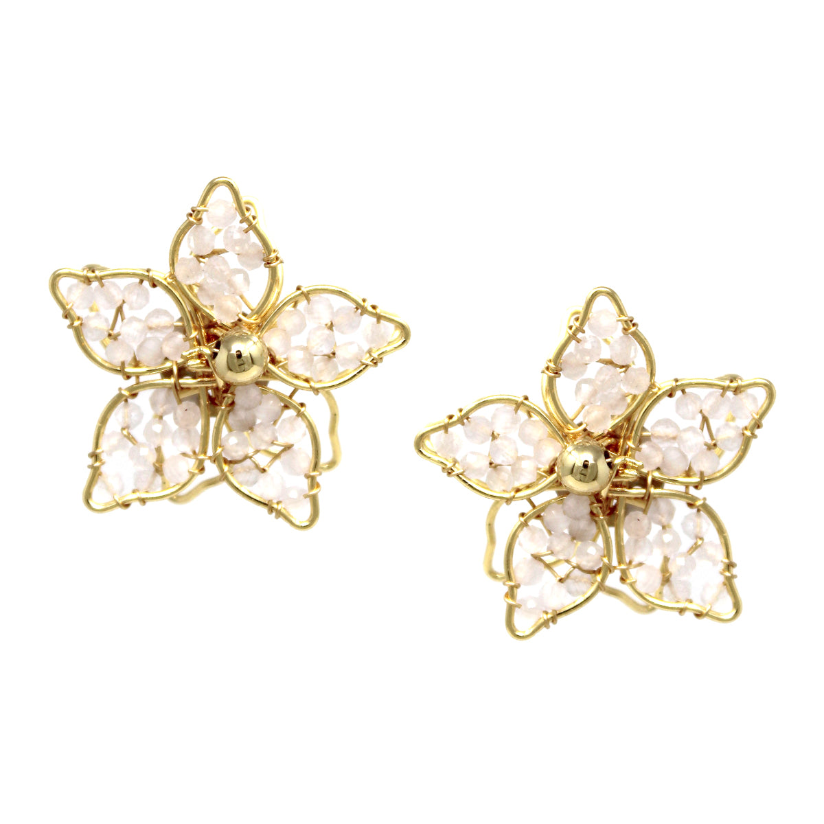 Glass Beaded Flower Stud Earrings
