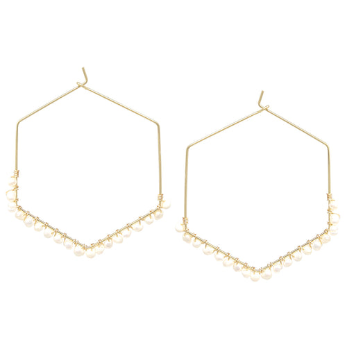 Freshwater Pearl Wrapped Hexagon Hoop Earrings