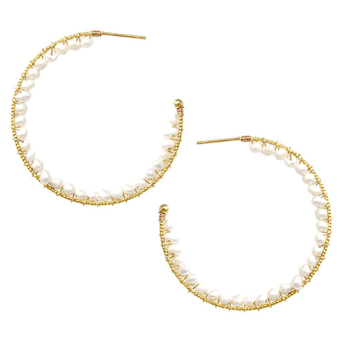 Freshwater Pearl Bead Inside Wrapped Hoop Earrings