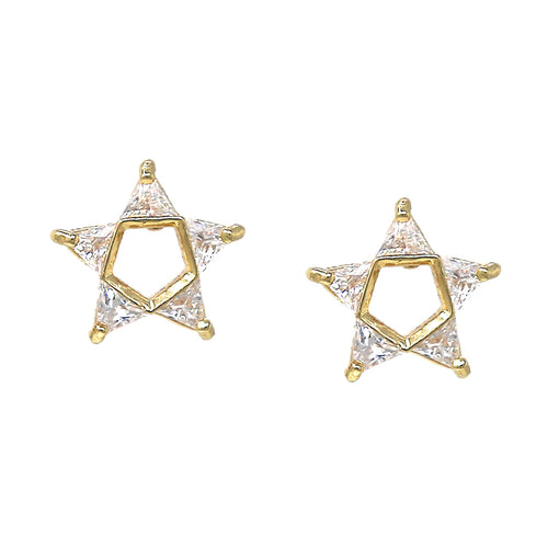 Triangle Cubic Zirconia Pave Star Stud Earrings