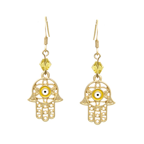 Filigree Pattern Hamsa Drop Earrings