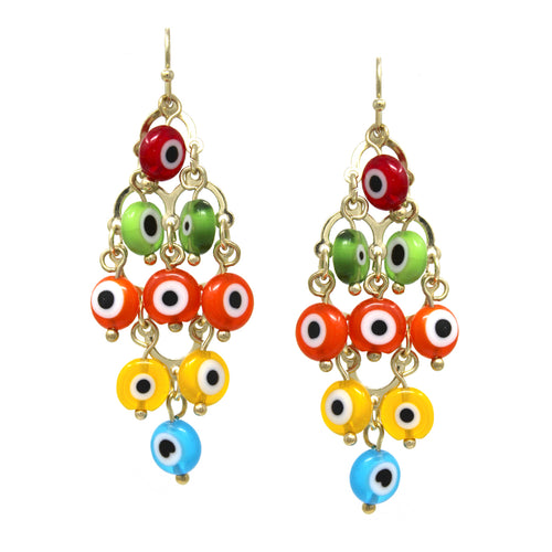 Evil Eye Bead Chandelier Drop Earrings