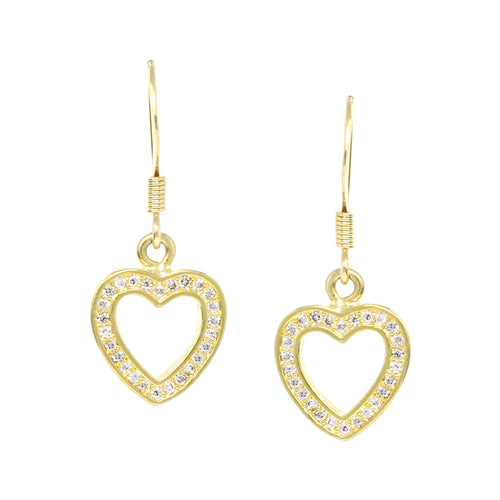 Cubic Zirconia Pave Heart Drop Earrings