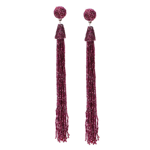 Glass Bugle Bead Tassel Long Earrings