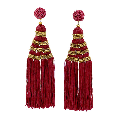 Seed Bead With Thread Tassel Drop Statement Earrings