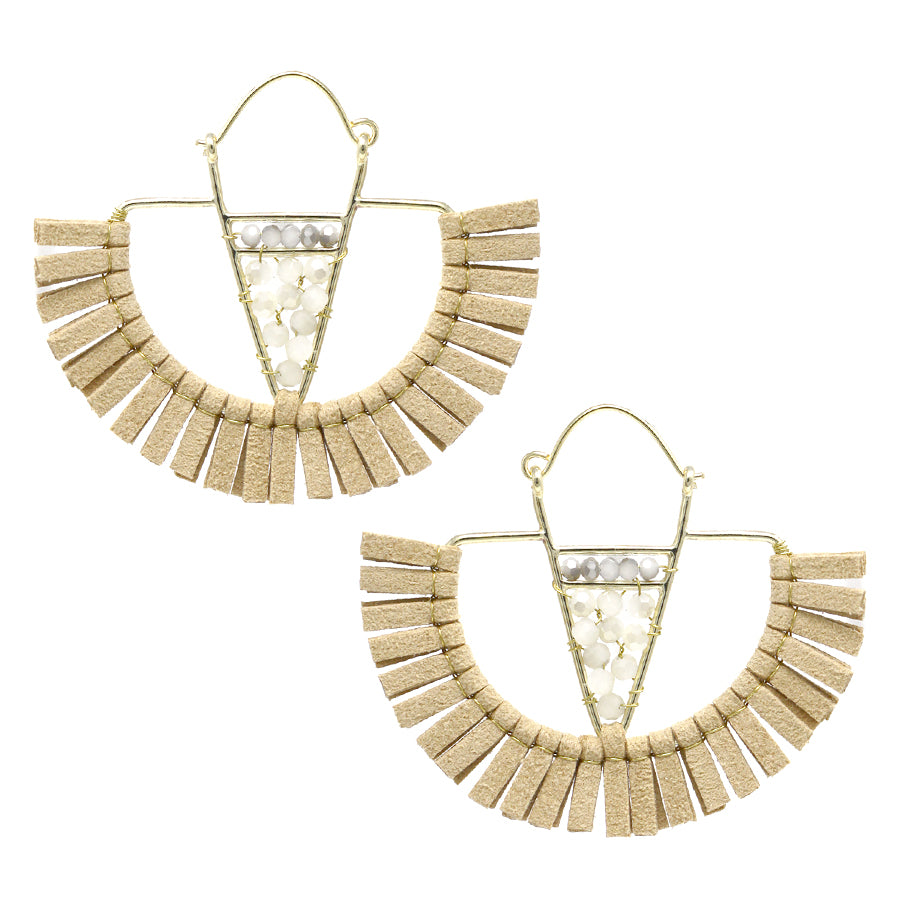 Faux Leather Fringe With Glass Bead Fan Shape Earrings