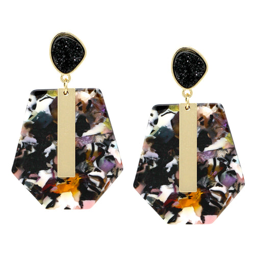 Druzy Top With Bar And Acetate Layer Drop Earrings