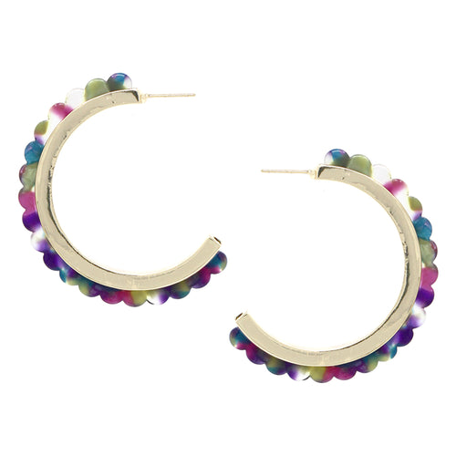 Scallop Shape Acetate Open Hoop Earrings
