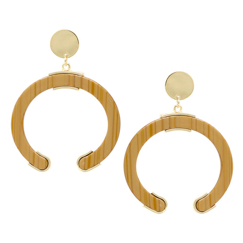 Metal Disc Top With Acetate Open Hoop Drop Earrings