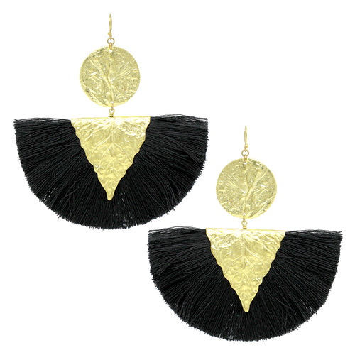 Leaf Texture Metal With Fan Shaped Thread Fringe Drop Earrings