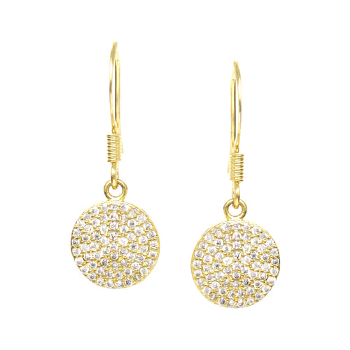 Cubic Zirconia Pave Disc Drop Earrings