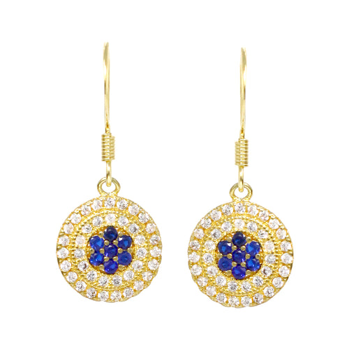 Cubic Zirconia Pave Evil Eye Drop Earrings
