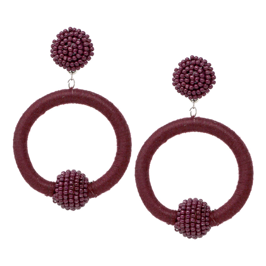 Seed Bead Ball With Thread Wrapped Hoop Drop Earrings