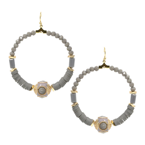 Antique Spacer Bead With Glass Beaded Hoop Drop Earrings