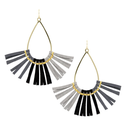 Teardrop Hoop With Faux Leather Fringe Drop Earrings