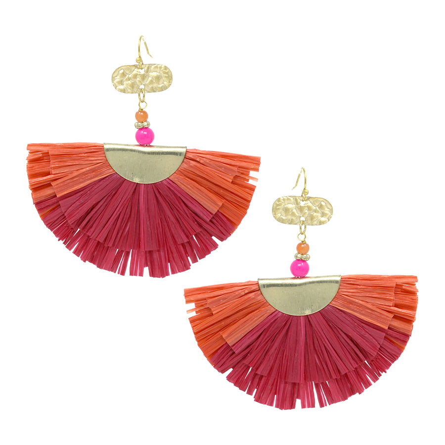 Fan Shape Raffia Fringe Drop Earrings