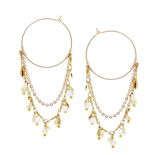 Glass Beaded Chain Drop Hoop Earrings