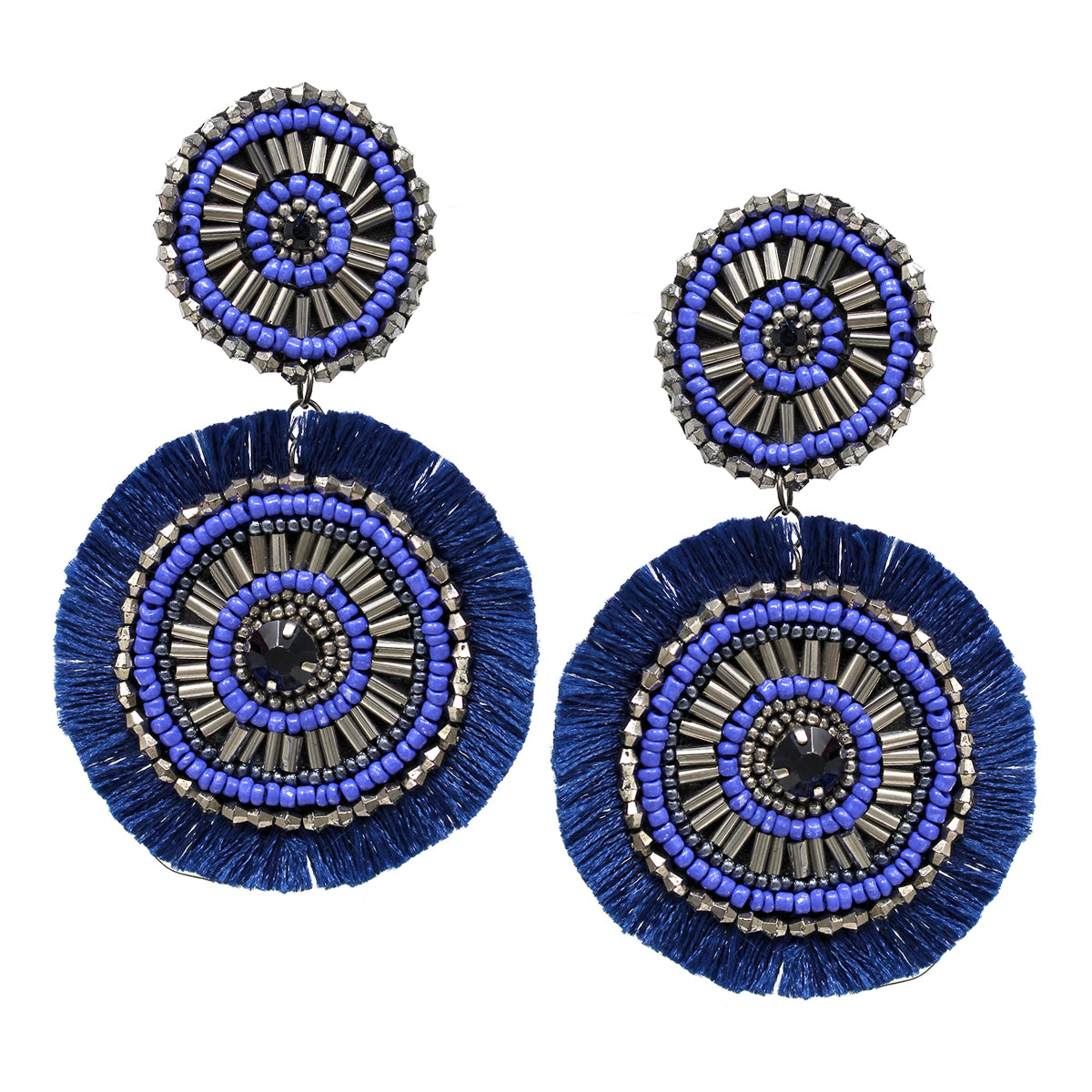 Tube Beaded Disc Fringe Drop Earrings