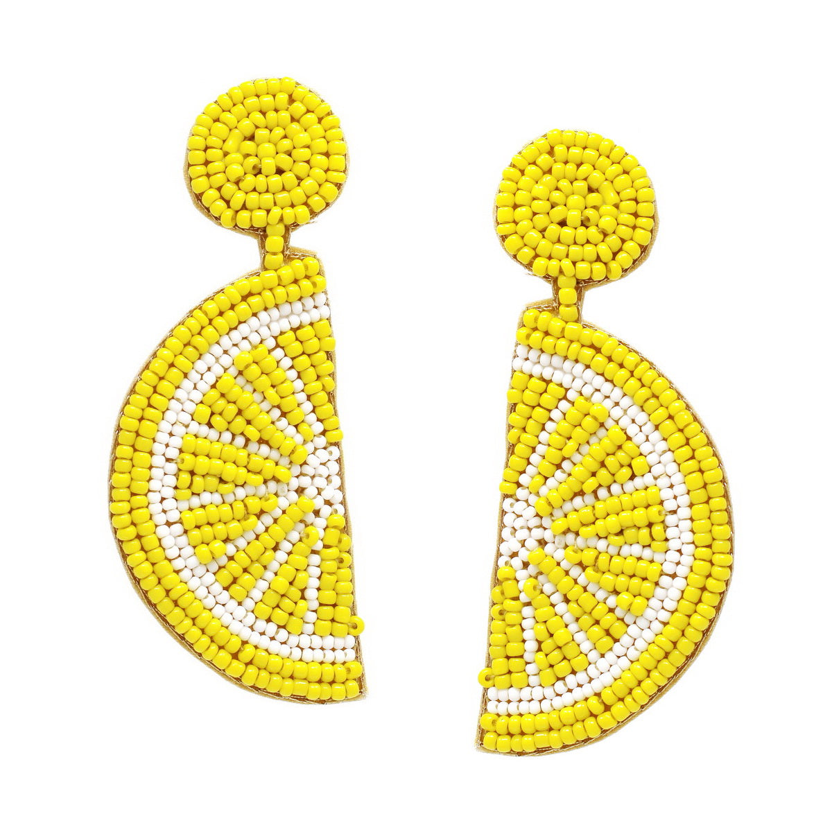 Seed Beaded Citrus Slice Drop Earrings