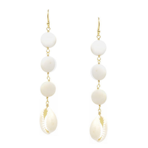 Mother Of Pearl Disc And Puka Shell Drop Earrings