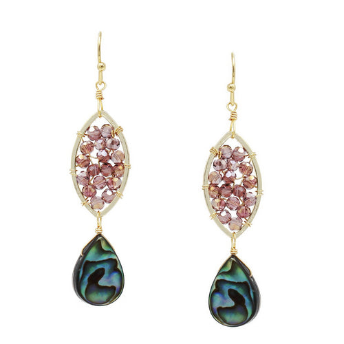 Abalone Teardrop Seed Beaded Earrings
