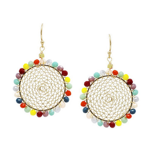 Glass Bead Trimmed Mesh Disc Drop Earrings