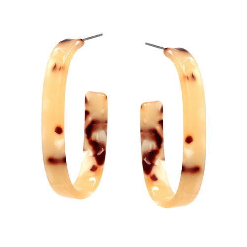 Textured Acetate Oval Shape Hoop Earrings