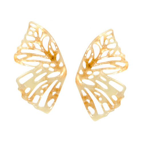 Acetate/ Metal Cutout Butterfly Stud Earrings