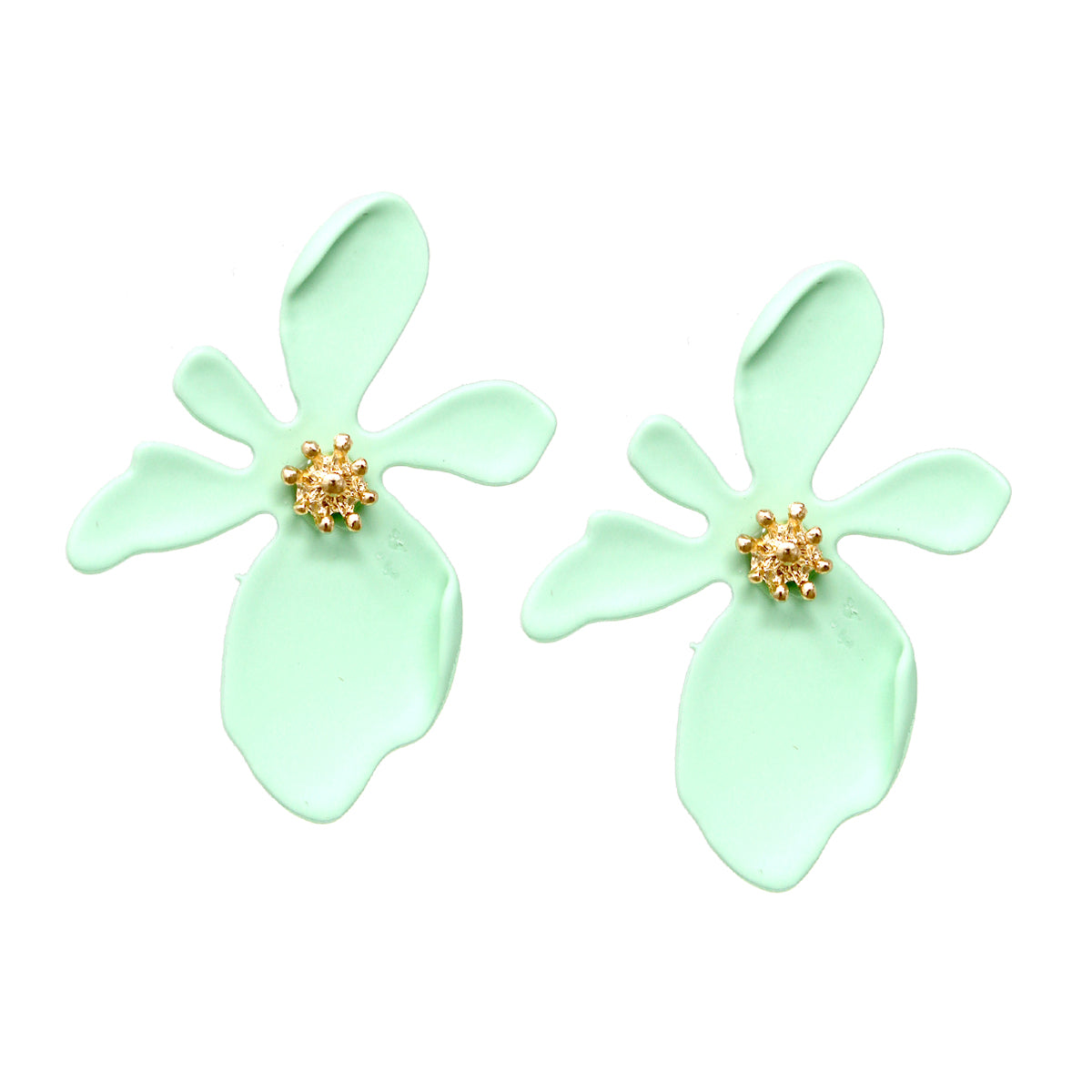 Rubber Coated Orchid Flower Stud Earrings