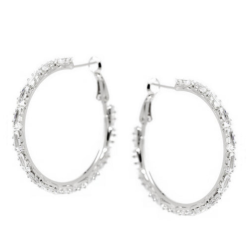 Triangle Shape CZ Pave Hoop Earrings (40 mm)