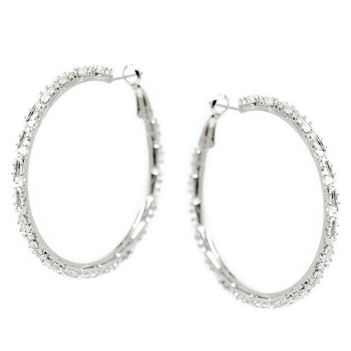 Triangle Shape CZ Pave Hoop Earrings (50 mm)