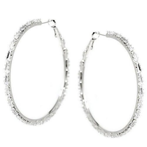 Triangle Shape CZ Pave Hoop Earrings (60 mm)