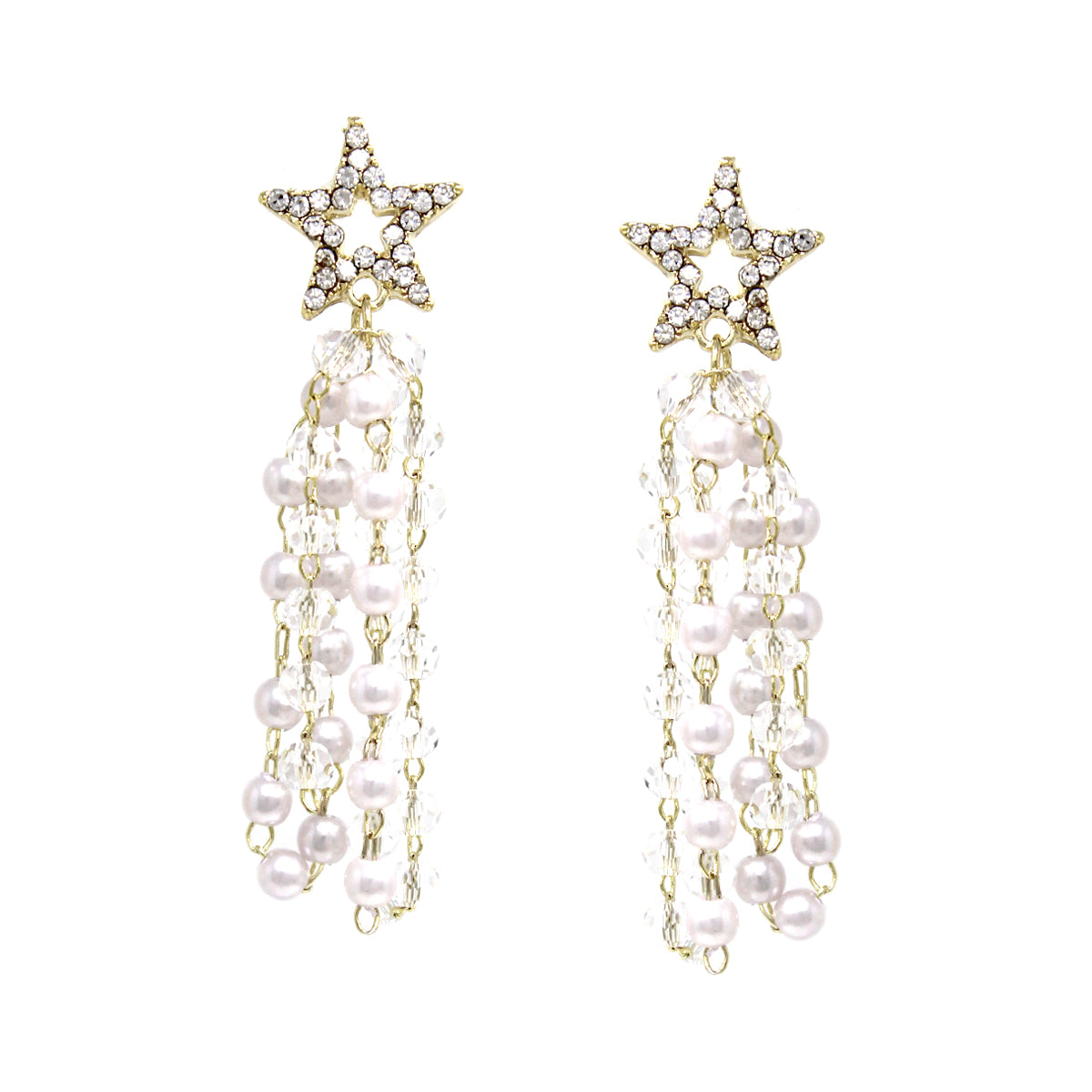 Rhinestone Pave Star With Pearl/ Glass Bead Tassel Drop Earrings