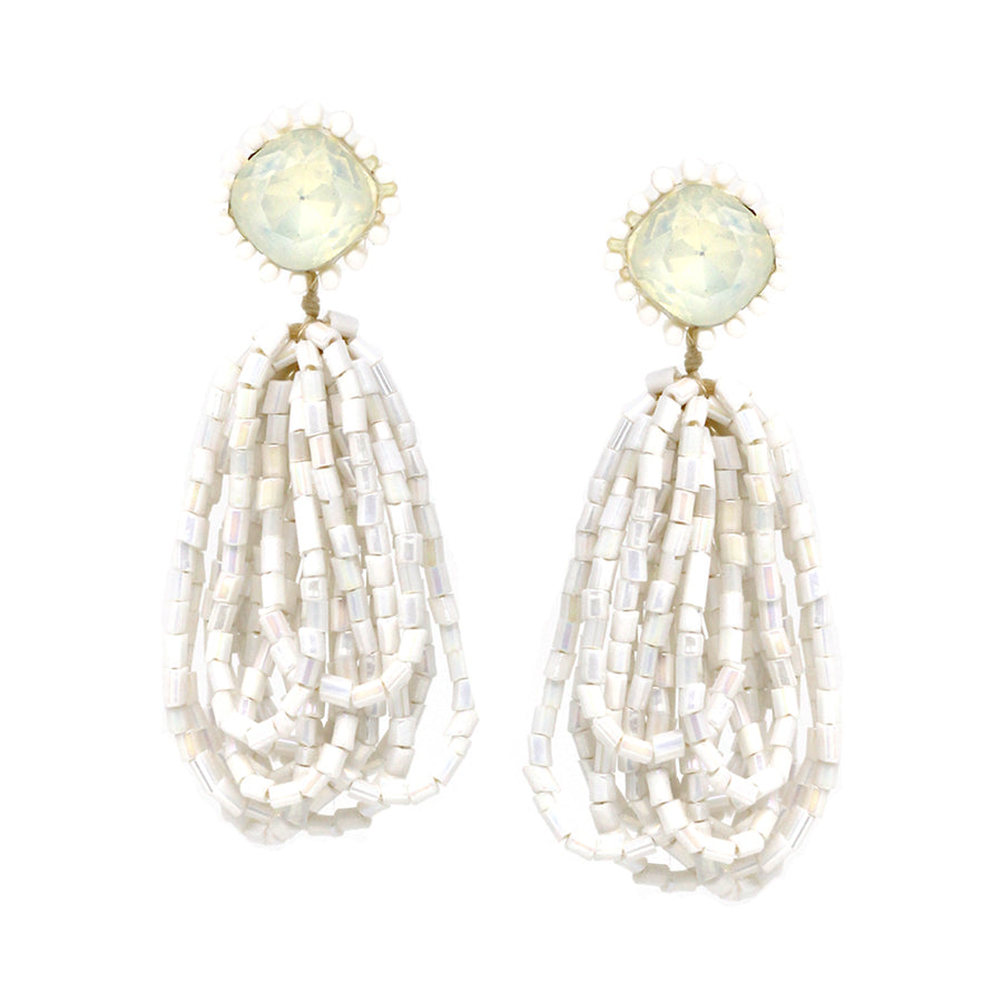 Glass Beaded Multi Layered Drop Earrings
